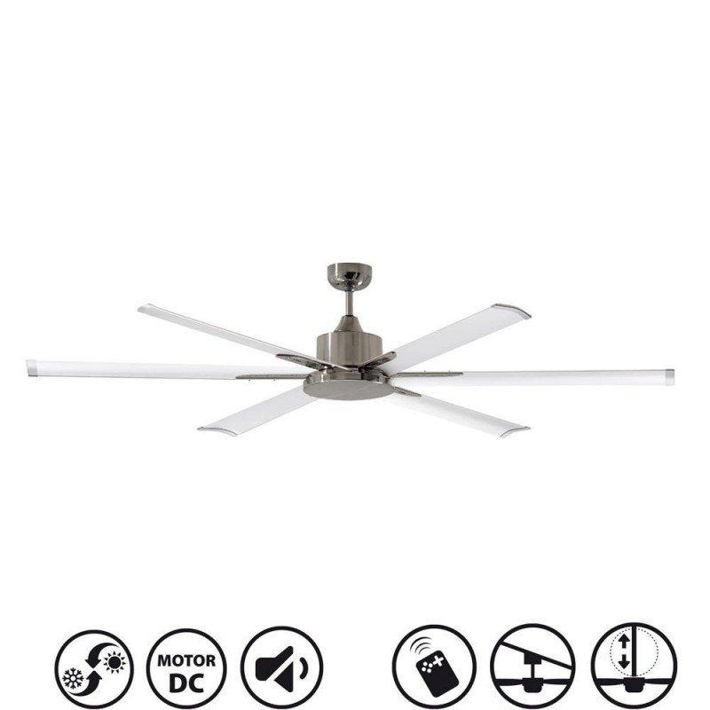 Ventilatore da soffitto, North Star, 210cm, industriale, DC, niquel/bianco, Lba Home
