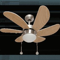 Ventilatore da soffitto, Colores, 75cm, nichel/faggio, con luce, classico, Lba Home.