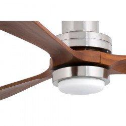 Ventilatore da soffitto, Lantau-G LED, 168 cm, moderno, nichel opaco e noce scuro, con telecomando, Faro