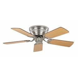 Ventilatore a soffitto, Classic Flat 103 III-BN, 103cm, cromo spazzolato/faggio/noce, Casafan.