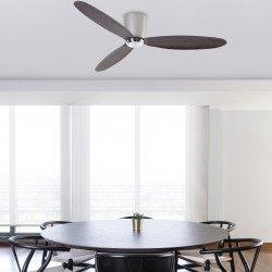 Ventilatore da soffitto, Nias, 140cm, DC, nichel opaco/ legno di noce, Faro.