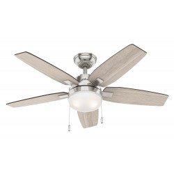 Ventilatore da soffitto, Arcot 117 BN, 117 cm, rovere e noce grigio/ cromo spazzolato, con luce,  Hunter