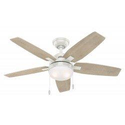 Ventilatore da soffitto, Arcot 117WE, 117 cm, pale bianche/pino grigio sbiancato e corpo bianco, con luce, Hunter