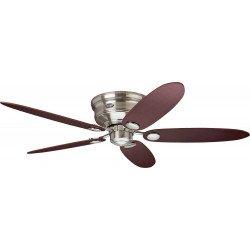 Ventilatore da soffitto, Low profile BN, Ø 112/132 cm, cromo spazzolato/acero/marrone cioccolato, Hunter.