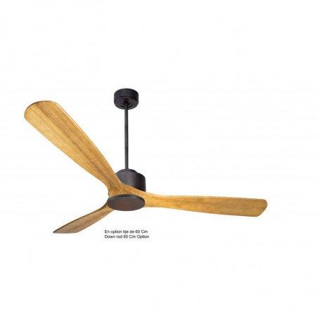 Ventilatore da soffitto super-destratificatore, Modulo, 166 cm, motore DC, grafite/legno chiaro, + termostato e wifi,Klassfan