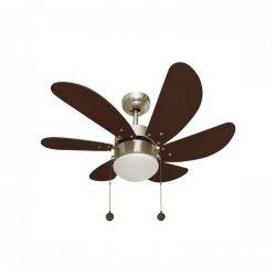 Ventilatore da soffitto, Colores, 85cm, pale finitura ciliegio, con luce, classico, Lba Home