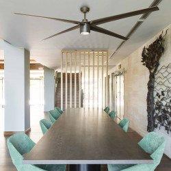 Ventilatore da soffitto, ATTOS LED, 213cm, DC, marrone, luce LED dimmer, Faro.