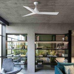 Ventilatore da soffitto, Samos DC, 132cm, design, bianco, con telecomando, Faro