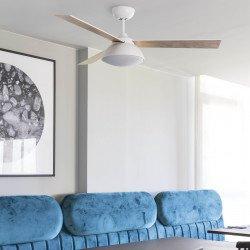 Ventilatore da soffitto, Rodas, DC, 132cm, bianco/legno, con luce LED, moderno, Faro.