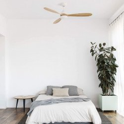 Ventilatore da soffitto, Poros LED, DC, bianco/legno, con luce, + telecomando, Faro.
