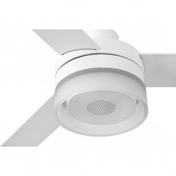 Ventilatore da soffitto, Ice Led Speaker,bianco/acero, con luce, + altoparlante, estate/inverno, Faro.
