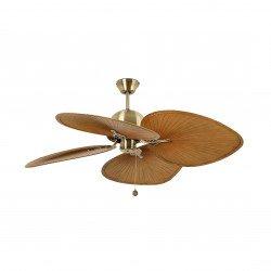 Ventilatore da soffitto,CUBA B, 132 cm,  tropicale, per esterni, oro invecchiato/ pale marroni, Faro.