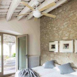 Ventilatore da soffitto, Izaro LED, DC, 132cm, bianco/legno, luce LED, Faro.