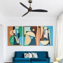 Ventilatore da soffitto, Just Fan Oro, 128 cm, moderno, corpo oro invecchiato/pale nere, iper silenzioso, reversibile, Faro.