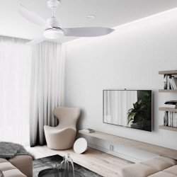 Ventilatore da soffitto, Yakutsk, 142cm, DC, bianco, IOT, con luce, Lba Home.