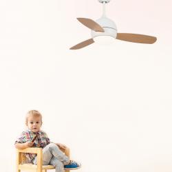 Ventilatore da soffitto, Libellula, 92cm, DC, bianco/legno, con luce e telecomando, Lba Home.