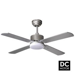 Ventilatore da soffitto, Sevilla Silver,  DC, 107cm, con luce LED, niquel/ argento/ faggio,  Lba Home.