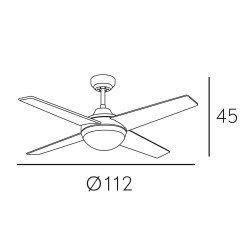Ventilatore da soffitto, Elysa blanco DC, DC, 112cm, bianco, con luce, Lba Home.