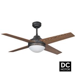 Ventilatore da soffitto, Elysa rustik DC, DC, 112cm, marrone antico/ ciliegio/noce, con luce, Lba Home.