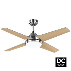 Ventilatore da soffitto, Elysa DC Haya , DC, 112cm,  pale double-face faggio/argento, con luce, Lba Home.