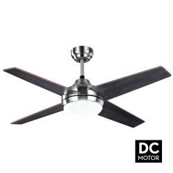 Ventilatore da soffitto, Elysa DC Wengé , DC, 112cm,  pale double-face faggio/wengé, con luce, Lba Home.