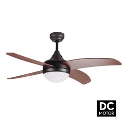 Ventilatore da soffitto, Artus DC Rustic, DC, 116cm, marrone scuro/ pale in noce, con luce, telecomando, Lba Home.