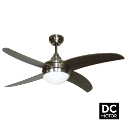 Ventilatore da soffitto,  Artus DC Wengé, DC, 116cm, niquel/ wengé, con luce, telecomando, Lba Home.