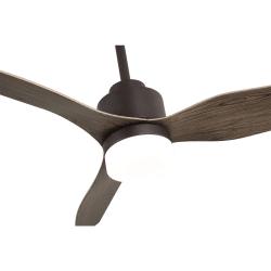 Ventilatore da soffitto, Trispin Brown,  120 cm, corpo marrone/pale rovere, con luce LED, telecomando, Lba Home.