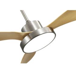 Ventilatore da soffitto, Beech Wind, 120cm, corpo niquel/ pale faggio, con luce, moderno, Lba Home.
