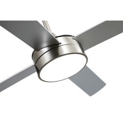 Ventilatore da soffitto, Tube Silver,  132 cm, noquel/ argento/ faggio con luce LED, telecomando, Lba Home.