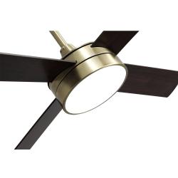 Ventilatore da soffitto, Tube Brass,  132 cm, ottone/ rovere/ ciliegio con luce LED, telecomando, Lba Home.