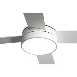 Ventilatore da soffitto, Tube White,  132 cm,  bianco/ pale bianche faggio, con luce LED, telecomando, Lba Home.