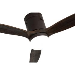 Ventilatore da soffitto, Short Lt brown, DC, 132 cm, DC, moderno, corpo marrone/ pale rovere, con luce LED, Lba Home.