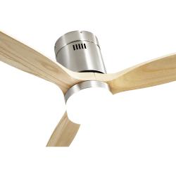 Ventilatore da soffitto, Short Lt Slide Wood, DC, 132 cm, DC, moderno, corpo niquel/pale faggio, con luce Lba Home.