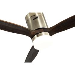 Ventilatore da soffitto, Short Lt Brass, DC, 132 cm, DC, moderno, corpo ottone/rovere, con luce LED, Lba Home.