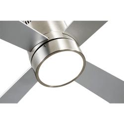 Ventilatore da soffitto, Twist Lt Silver ,  122 cm, corpo niquel,  pale faggio,/argento,  con luce LED, telecomando, Lba Home.