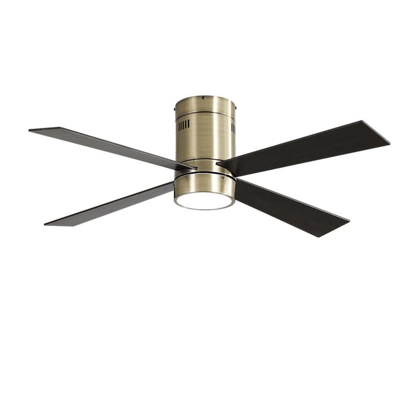 Ventilatore da soffitto, Twist Lt Brass ,  122 cm, corpo ottone,  pale rovere/ciliegio,  con luce LED, telecomando, Lba Home.