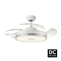Ventilatore da soffitto, Soundmix White, 108cm, DC, con pale a scomparsa, altavoce bluetooth, con luce, Lba Home.