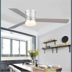Ventilatore da soffitto, Area, 132cm, per esterni ed interni, con luce LED, moderno, argento, Lba Home.