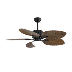 """Ventilatore da soffitto, Fiji, 132cm, corpo nero/ pale con design """"foglia di palma"""", con luce, Lba Home."""