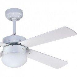Ventilatore da soffitto, Libetronic, 107cm, bianco, con luce e telecomando, Lba Home.