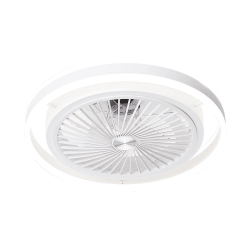 Ventilatore da soffitto con pale nascoste, Pampero, corpo bianco/pale trasparenti, con luce, Lba home.