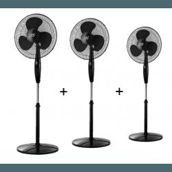 Tre Ventilatori a piantana,  Inverna , 40W, neri, con telecomando + timer, Lba Home