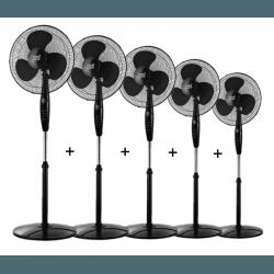 Cinque Ventilatori a piantana,  Inverna , 40W, neri, con telecomando + timer, Lba Home