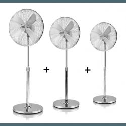 Tre Ventilatori a piantana,  Pali , 50W, metallo cromato, Lba Home.