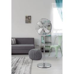 Ventilatore a piantana,  Pali , 50W, bianco, metallo cromato, Lba Home.