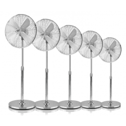 Cinque Ventilatori a piantana,  Pali , 50W, metallo cromato, Lba Home.