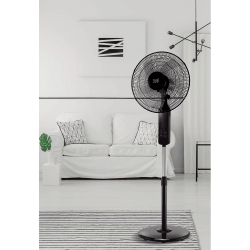 Ventilatore a piantana,  Barat, 45W, nero con dettagli cromati, + telecomando e Pannello Tattile, Lba Home.