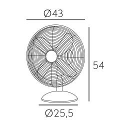 Ventilatore da tavolo, Pali desk, 43cm, cromato, 50W, moderno, Lbahome.