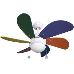Ventilatore da soffitto, Colores, 85cm, multicolor, con luce, classico, Lba Home
